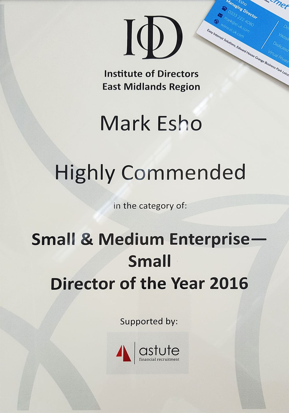 Institute of Directors (IoD) East Midlands Awards 2016 – Highly Commended