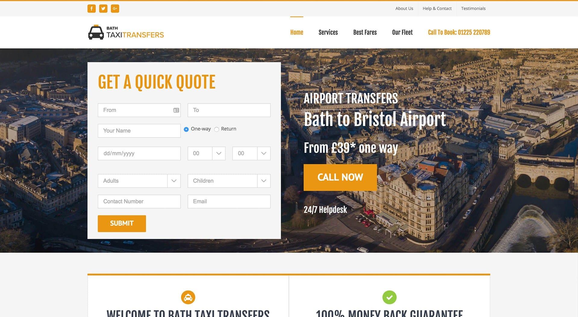 Bath Taxi Transfers Web Design
