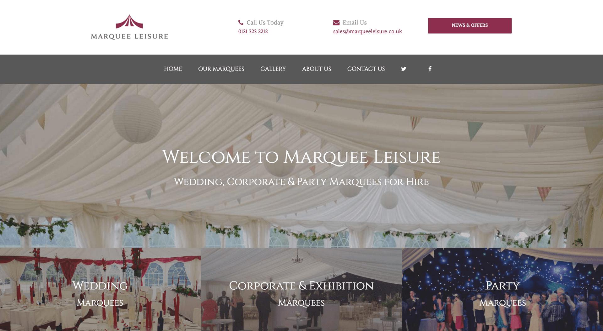 Marquee Leisure Web Design