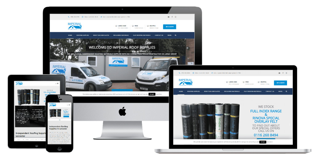Imperial Roofing Supplies - web design by Easy Internet, Leicester