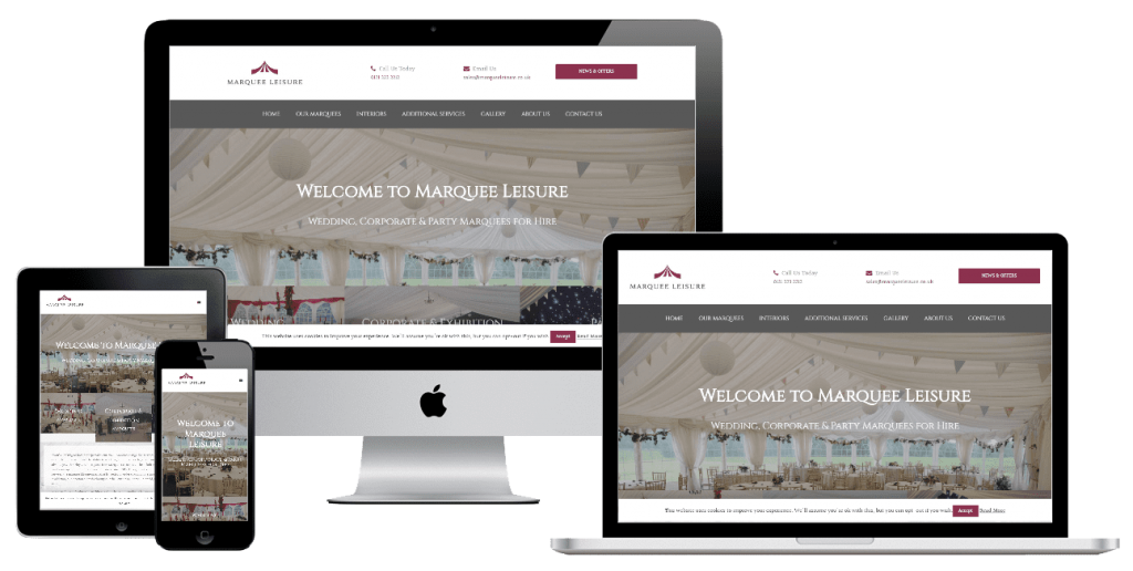 Marquee Leisure - web design by Easy Internet, Leicester
