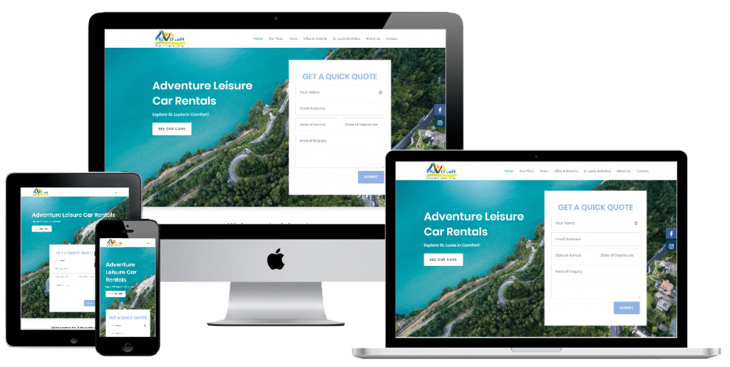 Adventure Leisure Car Rentals - web design by Easy Internet, Leicester