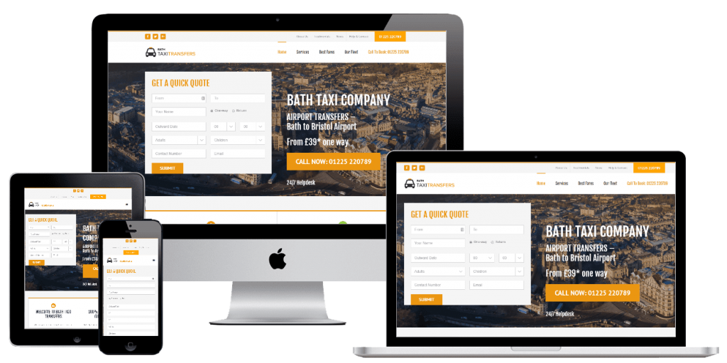 Bath Taxi Transfers - web design by Easy Internet, Leicester